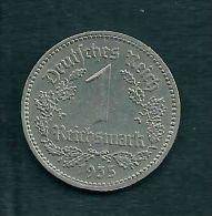 Deutschland 1 RM. 1935, Used, Ungereinigt, Rückseite Beschädigt, Ni - [ 4] 1933-1945 : Third Reich
