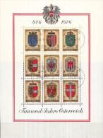 Oostenrijk - 25-10-1976 - 1000 Jahre Österreich - Wappen Der Bundesländer - Eerste Dag Afstempeling - M Blok 4 - Postzegels