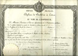 1864 - DIPLÔME De BACHELIER ès LETTRES - Signé Victor DURUY Ministre De L´Instruction Publique (Napoléon Lll) - Historische Documenten