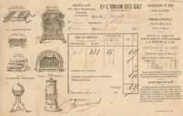 FACTURE LETTRE : PARIS . CIE L'UNION DES GAZ . MAGASIN D'APPAREILS . 1903 . - Other