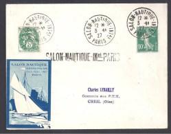 Salon Nautique Int. PARIS 1927 - Enveloppe Avec Vignette Du Salon - Postmark Collection (Covers)