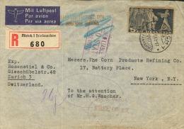 Suiza. Yvert 314c Sobre. 1941. 5 Fr Pizarra Sobre Gris Verdoso. Certificado De ZURICH A NUEVA YORK (U.S.A.). En El Frent - Svizzera