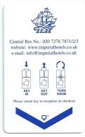 HOTEL ILH LONDON  llave clef key keycard hotelkarte