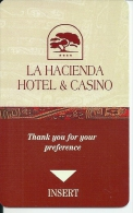 HOTEL Y CASINO LA HACIENDA, LIMA PERU llave clef key keycard hotelkarte