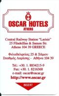 HOTEL OSCAR ATHENS  llave clef key keycard hotelkarte