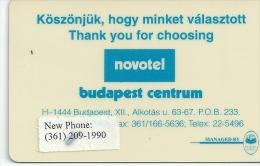 HOTEL NOVOTEL BUDAPEST CENTRUM  llave clef key keycard hotelkarte