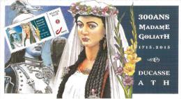 Ducasse D'Ath, Illustration Originale Pour LeTricentenaire De Madame Goliath. La Carte Postale Et Son Timbre. Format 210 - Personnages
