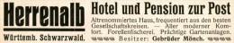 Original-Werbung/ Anzeige 1914 - HERRENALB / WÜRTTEMBERG / HOTEL - PENSION ZUR POST - Ca. 115 X 20 Mm - Werbung