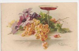 C. Klein, Fruit, Grapes & Wine Glass, Meissner & Buch 1167 Postcard, B265 - Ilustradores & Fotógrafos