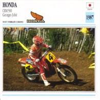 Honda CRM 500 Motocross  -  Georges Jobé  -  1987  -  Fiche Technique Moto (Course) - Otros