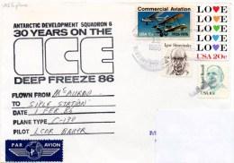 Polaire. Pli Deep Freeze 86. Flown By VXE-6, From Mc Murdo To Siple Station. 1/02/86. Pilot CDR Bauer. Cachet Illustré. - Polare Flüge
