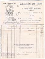 FACTURE  SION FRERES FILATURE DE LAMARLIERE 248 RUE DU G. DROUOT TOURCOING 1937 FAC44 - Textile & Vestimentaire