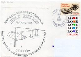 Polaire. Pli USA Research Program. Cachet à Date Mc. Murdo Station Du 04/01/86. Cachet Illustré Siple Station Antarctica - Navires & Brise-glace