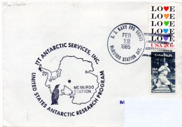 Polaire. Pli USA Research Program. Cachet à Date Mc. Murdo Station Du 12/02/85. Cachet Illustré Station Mc. Murdo - Navires & Brise-glace