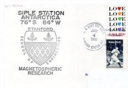 Polaire. Pli USA Magnetospheric Research. Cachet à Date Mc. Murdo Station Du 04/01/86. Cachet Illustré Siple Station. - Navires & Brise-glace