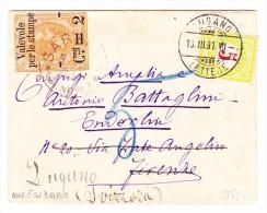 Italien Sarzana ?.3.1891 Brief Nach Firenze Weitergeleitet Nach Lugano Mit Strafporto 5Rp - 1878-00 Humbert I.