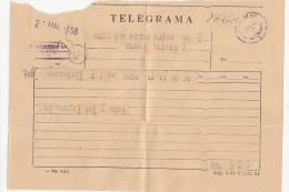 TELEGRAMME SENT FROM BUCHAREST TO CLUJ NAPOCA, 1958, ROMANIA - Télégraphes