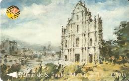 TARJETA DE MACAO DE LAS RUINAS DE S. PAULO DE CTM MOP50 (8MACB) - Macau