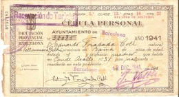 CEDULA PERSONAL DEL AÑO 1941 DEL AYUNTAMIENTO DE BARCELONA - RENOVACION DE TARJETA - España