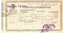 CEDULA PERSONAL DEL AÑO 1942 DEL AYUNTAMIENTO DE BARCELONA - TERCERA TARJETA - España