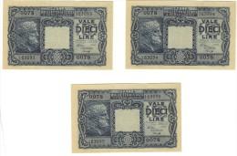 Lire 10 1944 Luogotenenza FDS - Pick 32a  - Ventura, Simoneschi, Giovinco - Num. Consecutiva - [ 1] …-1946 : Regno