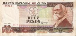 BILLETE DE CUBA DE 10 PESOS DEL A�O 1991   (BANKNOTE)  MAXIMO GOMEZ