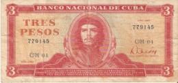 BILLETE DE CUBA DE 3 PESOS DEL A�O 1983   (BANKNOTE)  CHE GUEVARA