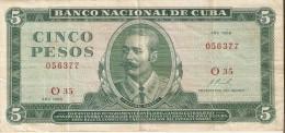 BILLETE DE CUBA DE 5 PESOS A�O 1968   (BANK NOTE)  ANTONIO MACEO