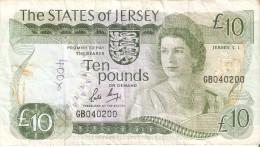 BILLETE DE JERSEY DE 10 POUND DEL AÑO 1976  (BANKNOTE) - Jersey
