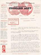 """1937 TRANSPORTS INTERNATIONAUX Edouard AGET Paris """"TERRESTRES- MARITIMES- FLUVIAUX"""" Courrier - Non Classés"""