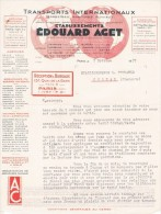 "1937 TRANSPORTS INTERNATIONAUX Edouard AGET Paris ""TERRESTRES- MARITIMES- FLUVIAUX"" Courrier - Transports"