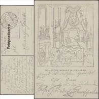 Allemagne 1915. Carte en franchise militaire. Barbare flamand dans son lit. Ruhender Barbar in Flandern