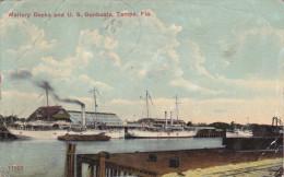 TAMPA, Florida, PU-1912; Mallory Docks And U.S. Gunboats