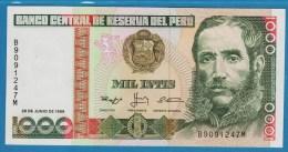 PERU 1000 Intis  28.06.1988 SERIE B..M   P#136b  UNC   Marshal Andrés Avelino Cáceres - Perú