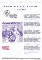 1995 Document  AUTOMOBILE CLUB DE FRANCE ( 1895-1995) Belle illustration + Timbre
