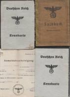 WW2 Lot De Documents Deutsche Reich : SOLDBUCH + 2x KENNKARTE + CERTIFICAT DE TRAVAIL + ANMELDEBESCHEINIGUNG - BB88 - Documenti Storici