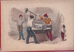 Illustration  Sur Carton 12,5X18 . LA FORGE (Métiers : Forgerons Au Travail) - Old Paper