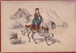 Illustration Sur Carton 12,5X18 . FEMME (Espagnole?) A CHEVAL . Illust. J. BLONDEAU - Old Paper