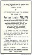 LISCHERT ..-- Mme Louise PHILIPPY , épouse De Mr François SCHOCKWEILLER , Née En 1895 , Décédée En 1959 à RODENHOFF . - Attert