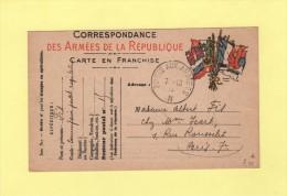 Poste Aux Armees N - 7-10-1915 - Carte FM Drapeaux - Postmark Collection (Covers)