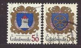 Czechoslovakia  Tschechoslowakei  1985 Gest.  Mi 2797, 2798 Sc 2542, 2544  City Arms . Städtewappen. C.2 - Czechoslovakia