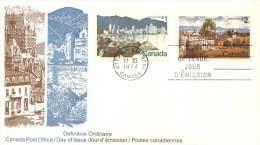 1972  $1 Vancouver  And $2  Quebec City  Definitives  Sc 600-1 Combination Official Unaddressed FDC - Ersttagsbelege (FDC)