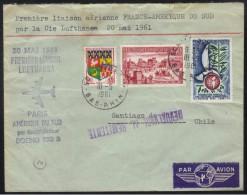 FRANCE - CHILI  /1961 ENVELOPPE PREMIER VOL PAR LUFTHANSA - FFC (ref 6799a) - France