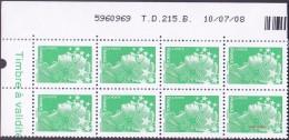 France Coin Daté N° 4229 ** Marianne De Beaujard Gommé Du TVP Vert Sur TD 215B Du 10.07.08 - 2000-2009