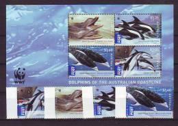 Australia  WWF Fauna Animals Dolphins Series + Block MNH - Unused Stamps