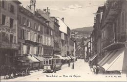 7815.....NEUCHÂTEL, Le Tram à La Rue Du Seyon - NE Neuchâtel