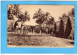 Salomon-ILE DE TEOP- Un Village Indigène  Plan Animé-- -années1910-20 - Salomon