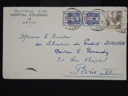 FRANCE - ALGERIE - Enveloppe De L Hopital Colonial De Sétif Pour Paris En 1946 - Aff. Plaisant - à Voir - Lot P8451 - Covers & Documents