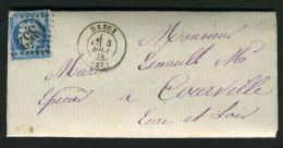 FRANCE  :  C A D  CONVOYEUR  PARIS  A  BREST  SUR  LETTRE  DU  3  AOUT  1874 ,   A VOIR . - Postmark Collection (Covers)