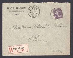 AUDE - Lettre Recommandée De BUGARACH  Affranchie Avec Semeuse N° 136 A - 1877-1920: Semi Modern Period